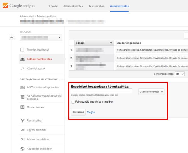 Google Analytics felhasználó hozzáadása