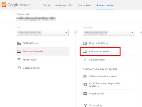 Google Analytics felhasználókezelés