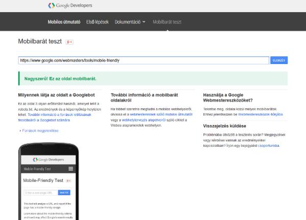 Google mobilbarát teszt eredménye