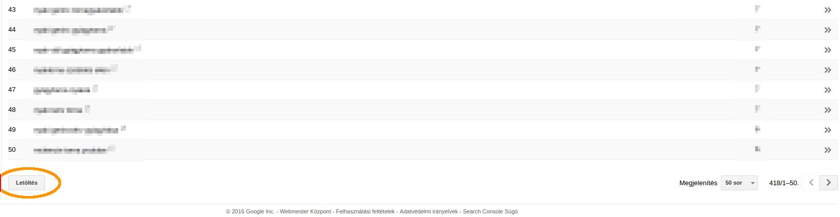 Keresési adatok letöltése a Google Search Console-ból